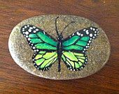 Happy Rock - Green Butterfly.... Painted River Rock