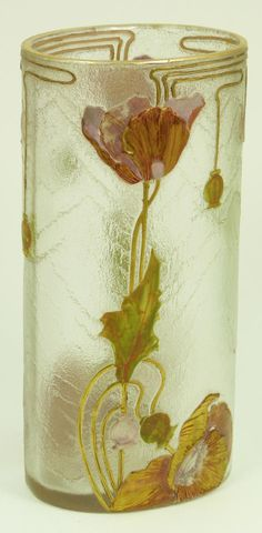 Mont Joye enameled cameo art glass vase having a frosted design throughout with raised pink floral designs and green stems. Holds gold Mont Joye marks to bottom. Late 19th century.