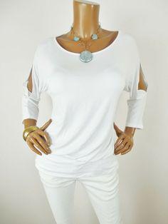3ec9a058e4288b CHICO S Sz 2 Womens Top L Cold Shoulder Shirt Stretch Dolman 3 4 Sleeve Off