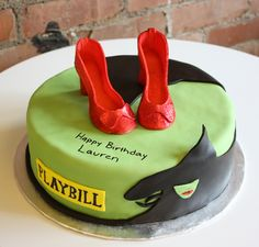"I love the shoes, they even look sparkly and the ""wicked witch"" on the cake. It is easy to see what the theme is, Wizard of Oz/ Wicked"". Pretty Cakes, Cute Cakes, Beautiful Cakes, Amazing Cakes, Sweet Cakes, Wicked, Crazy Cakes, Creative Cakes, Creative Things"