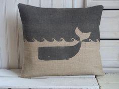 "Whale Hand Printed Charcoal Hessian Cushion 14"" x 16"". $30.00, via Etsy."
