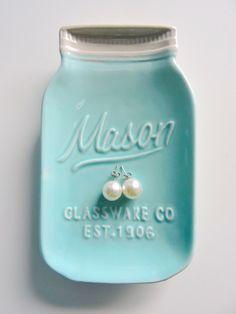 pearl studs + mason jar dish. perfectly southern