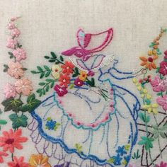 #embroidery #crinoline lady#자수#크레놀린 레이디#wool embroidery#needlework# Wool Embroidery, Embroidery Transfers, Vintage Embroidery, Embroidery Stitches, Embroidery Patterns, Machine Embroidery, Yarn Crafts, Needlework, Dish Towels