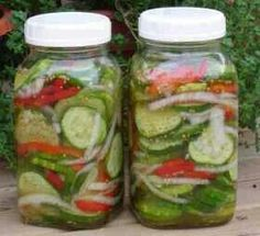 Fresh Pickled Cucumber Salad  7c unpeeled pickling cucumbers sliced thin 1c sliced onions 1c sliced bell peppers 1tbsp salt 1c white vinegar 2c sugar sub 1tsp celery seed 1tsp mustard seed  Mix cucumbers, onions, peppers & salt; set aside Put vinegar, sugar, celery seed & mustard seed in a pot & bring to boil Remove from heat, let cool for 1hr Pour over veg mix Put in jars and store in refrigerator Makes 2 quart jars.