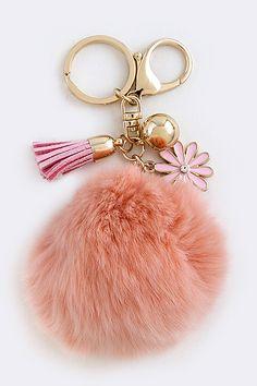 Pom Pom Keychain Scarf Jewelry, Diy Jewelry, Jewelry Making, Jewelery, Pom Pom Purse, Fur Pom Pom, Handbag Accessories, Jewelry Accessories, Fashion Accessories