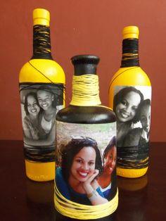 Decorative Bottles : Декупаж бутылки в африканском стиле, поделк. Wine Bottle Art, Glass Bottle Crafts, Diy Bottle, Liquor Bottles, Bottles And Jars, Glass Bottles, Wine Bottle Centerpieces, Foto Transfer, Jar Art