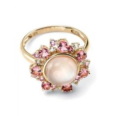 Yellow with Pink Pink White White Crystal and Pink Shell Pink Sapphire Ring, Pink Ring, Summer Jewelry, Jewelry Companies, Pink Tourmaline, Yellow Gold Rings, White Topaz, Vintage Engagement Rings, Jewelry Design