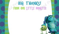 Monsters Inc. Thank You Card 1 Monsters Inc, Little Monsters, Birthday Thank You Cards, Printable Thank You Cards, Themes Free, Customer Service, Thankful, Digital, Prints