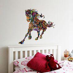 Novo Projeto Abstrato Decorativo Decalque Da Parede Colorida Flor Padrão Cavalo Adesivos de Parede para Quartos de Crianças decoração