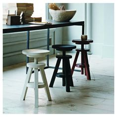 Three legged wind up stools