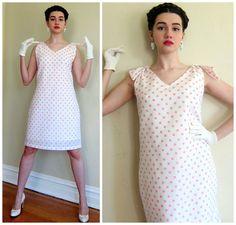 Vintage 1960s Pink and White Polka Dot Print Dress / 60s Sleeveless Cocktail Party  Dress / Large by BasyaBerkman on Etsy