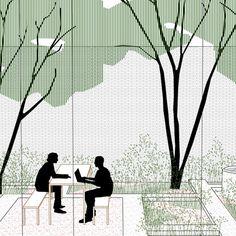 Plan Concept Architecture, Collage Architecture, Architecture Symbols, School Architecture, Landscape Architecture, Architecture Design, Landscape Sketch, Landscape Drawings, Urban Landscape