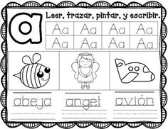 Bilingual kinder and Dual Language kinder activities for Bilingual learning centers. Gomez and Gomez activities for Bilingual literacy centers. Alphabet Activities, Literacy Activities, Teaching Resources, Alphabet Crafts, Alphabet Letters, Alphabet Coloring Pages, Alphabet Worksheets, Preschool Spanish Lessons, Spanish Activities