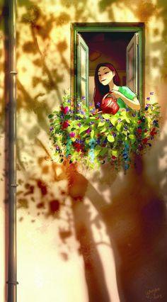 Yaoyao Ma Van As Digital Illustration Anime Art, Girly Art, Illustration Art Girl, Art Drawings, Fantasy Art, Animation Art, Alone Art, Cute Art, Cute Drawings