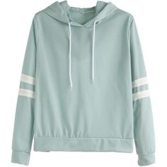 Pale Green Varsity Striped Drawstring Hooded Sweatshirt (165 SEK) ❤ liked on Polyvore featuring tops, hoodies, green, green hoodie, hoodie pullover, long sleeve pullover, sweatshirt hoodies and green hooded sweatshirt