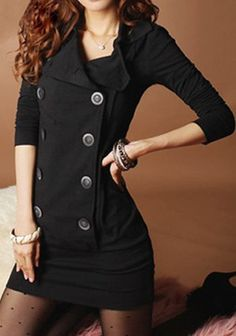 $12.65 Stylish Women's Turn-Down Collar Long Sleeve Double-Breasted Dress