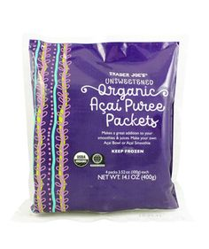 Unsweetened Organic Açai Purée Packets People Are Obsessed With These 33 Underrated Trader Joe's Products Trader Joe's, Trader Joes Food, Frozen Fruit, Low Fat Chocolate, Acai Smoothie, Eating Vegetables, Healthy Groceries, Packaging