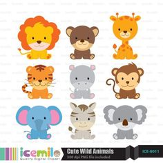 This digital clipart set including 9 Cute Wild Animals. Each clipart saved separately as a high resolution PNG file with a transparent background. Party Animals, Animal Party, Cute Wild Animals, Zoo Animals, Woodland Animals, Jungle Party, Safari Party, Cute Clipart, Clipart Baby