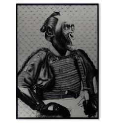 This is a hand-pulled screenprint of my original illustration of a Monkey Samurai