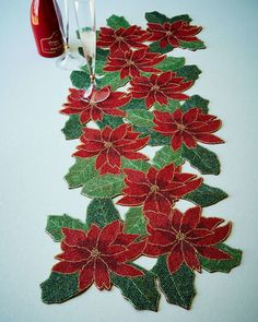 Poinsettia Beaded Table Runner by Divine Designs USA Inc at Neiman Marcus. Christmas Runner, Christmas Poinsettia, Christmas Sewing, Christmas Crafts, Christmas Decorations, Quilted Table Runners, Holiday Tables, Table Toppers, Diy And Crafts