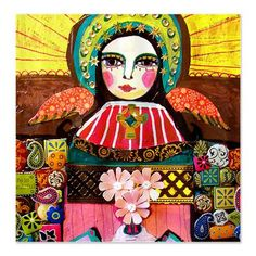 Mexican Folk Art Angel Shower Curtains - Virgin of Guadalupe Angel by Heather Galler Shower Curtain for Kids Bathroom or Adult Bathroom
