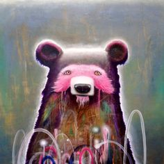 This is a print of my bear painting entitled  True Self. It is printed on 11x 14 archival acid free paper with archival inks. Actual image size is