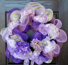 Deco Mesh Wreath Spring Purple Hydrangea