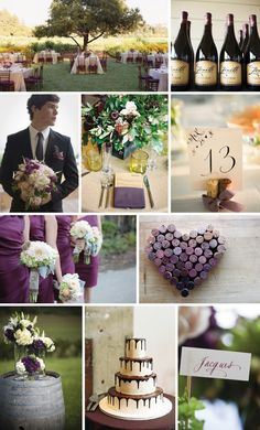 my second wedding aka my friend's weddings... Love: deep purple dresses with pale bouquets, wine cork table number holder, vineyard venue