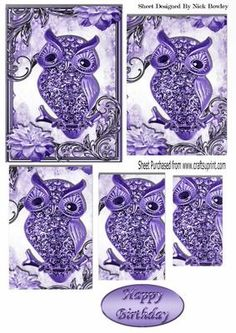 cute purple diamante owl on a branch with flowers pyramids on Craftsuprint - Add To Basket!