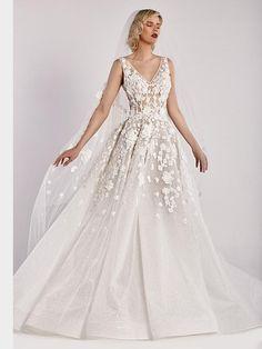 Romantisches Brautkleid mit Spitzenapplikationen auf Oberteil und Rock und tiefem Rückenausschnitt. Lace Wedding, Wedding Dresses, Couture, Rock, Fashion, Wedding Dress Lace, Tops, Gowns, Bride Dresses