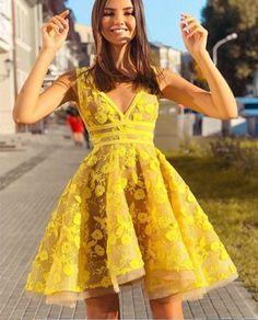Unique V Neck Lace Appliques Yellow Short Prom Dresses Homecoming Dresses, Yello. - Unique V Neck Lace Appliques Yellow Short Prom Dresses Homecoming Dresses, Yellow Lace Formal Dresses, Graduation Dresses, Evening Dresses Source by - Yellow Homecoming Dresses, Yellow Evening Dresses, Yellow Lace Dresses, Hoco Dresses, Sweet 16 Dresses, Prom Party Dresses, Elegant Dresses, Graduation Dresses, Prom Dress