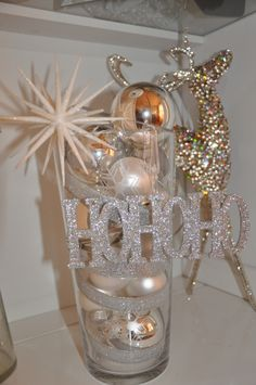 inexpensive vase filled with inexpensive ornaments.