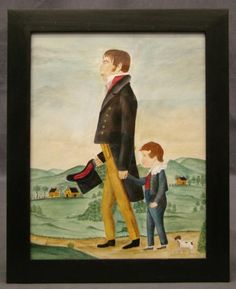"""Joseph Gardner and His Son Tempest Tucker"", painted in the manner of Jacob Maentel. 10 1/6"" x 8 1/4""."