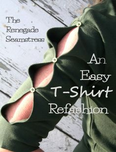 T-Shirt Refashion Tutorial13. Never thought of putting buttons on a sleeve to make it bigger.