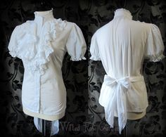 339faab0d9bc Romantic Victorian White Stripe Ruffle High Neck Blouse 14 16 Vintage  Edwardian   THE WILTED ROSE GARDEN on eBay    UK Based    Worldwide  Shipping Available