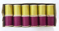 Vintage star mercerized thread wood spools burgundy mustard color lot 12
