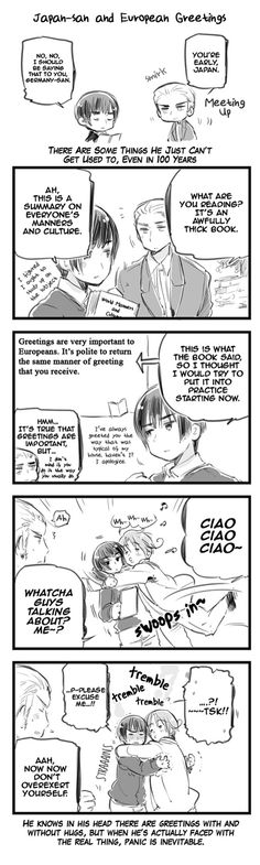 hetalia japan trying to do more traditional greetings XD funny and cute. And then there's Italy. XD