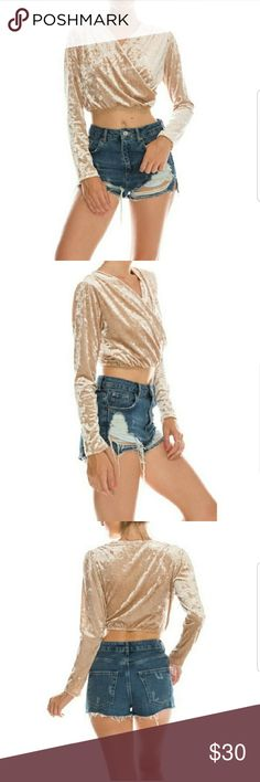 Velvet Crossover Crop Top Crushed velvet  Long Sleeve Stretchy bottom Beige Color Very soft and comfortable  ✔Would loom so cute with jeans or even a pencil skirt and knee boots! FavLux Tops Crop Tops