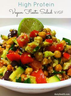 High Protein Vegan Fiesta Salad #vegan #glutenfree #cleaneats #cleaneating #glutenfree #bestrecipesever #fitrecipes #skinnyrecipes #healthyrecipes #fitfam #instagood #instashare #cleaneatingrecipes #veganrecipes #veganfoodshare http://www.damyhealth.com/2011/06/high-protein-vegan-fiesta-salad/