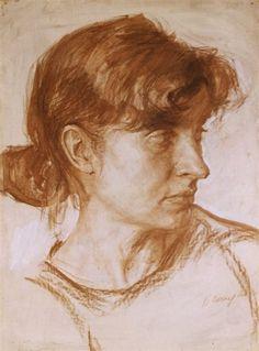 Виталий Еклерис  Vitaly Yekleris женский портрет, академический рисунок 80-60 см. бумага, соус, белила  #vitalyyekleris