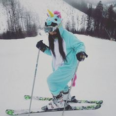Heading to the mountains? Slap on your #Unicorn #Kigurumi and #Skis like our #KigurumiFanoftheDay @lady_cho_cola_te and carve the slopes in style!  Get your #AnimalPajamas #Snow gear today at www.kigurumi-shop.com!   =^=