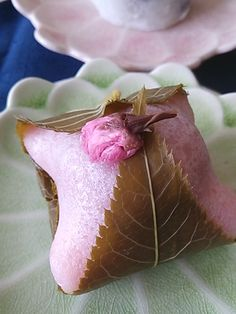 Japanese Sakura Mochi with Salted Cherry Blossom and pickled Sakura leaf