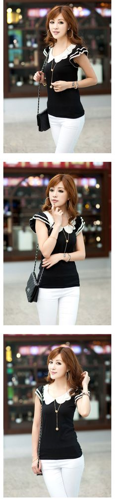 OL Style Double Petal Collar Layered Cuff Top For Women, Shop online for $9.60 Cheap Basic Tops code 699343 - Eastclothes.com