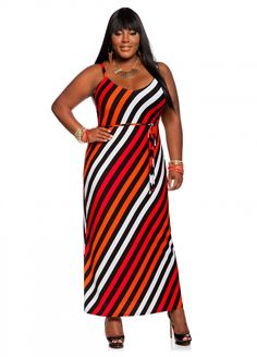 Ashley Stewart: Asymmetrical Stripe Maxi Dress