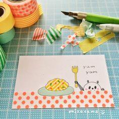 drawing with masking tape - 消しゴムはんこ mizutama