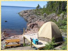 Camp here (Quebec) and watch whales from your tent... must try it!