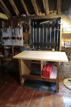 """Built this workbench yesterday with my dad using 3""""x3"""" for the legs ...a 5ft and 3ft length of joist for horizontal support and using ply wood found in a skip created a shelf and section ready for a deep and shallow drawer from when our kitchen gets a re-fit next month. The worktop is 2 regularised joists divided into 4 equal lengths..     This bench was designed by an 81 year old man and was built with love and accurate measuring. Can't wait to start projects I find on Pinterest. Thanks Dad…"""