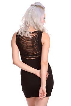 Black Sleeveless Scoop Neck Fringe Back Ribbed Sexy Party Dress