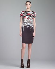 Orchid-Print+Bateau-Neck+Dress,+Mahogany+by+St.+John+Collection+at+Neiman+Marcus.