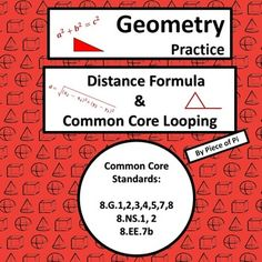 Distance Formula & Pythagorean Theorem Practice.  Common Core spiraling practice problems for 8.G.1,2,3,4,5,7,8 and 8.NS.1, 2, and 8.EE.7b.This product is one of many geometry homework series for my students! I created this practice during the Distance Formula and Pythagorean Theorem unit to help my students to retain concepts.